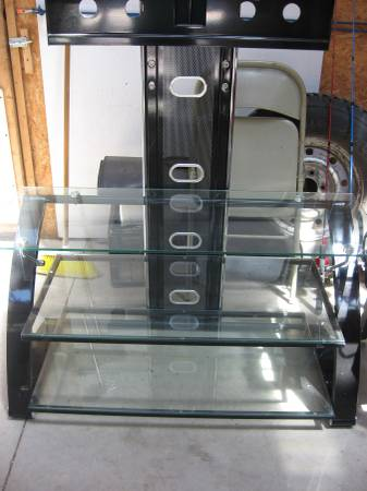 Photo 3 Tier Tempered Glass  Metal T.V Floor Stand for 37quot to 50quot Flat T.V. - $65 (Gaylord. Mich.)
