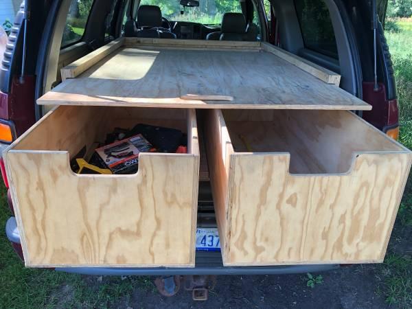 Photo Sliding plywood heavy duty tool box for Chevy suburban - $300 (traverse city)