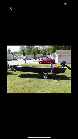 Photo 14 foot Jon boat, with outboard, trolling motor, and trailer - $1,600 (Elizabeth City, NC)