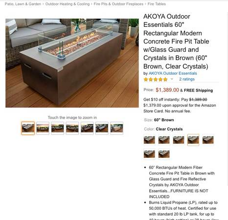 Photo Akoya Outdoor Essentials 60quot Rectangular Modern Concrete Fire Pit Table - $1100