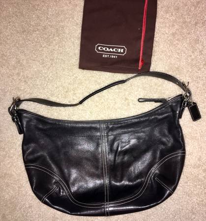 Photo Coach Black Leather Signature Hobo Bag - $40 (Virginia Beach)