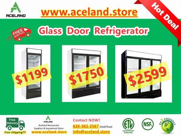 Photo NSF 123-door Commercial Glass Refrigerators Freezer Restaurant Equip - $1,199 (Free Shipping 100 New)
