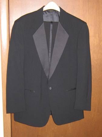 Photo 38R Black Tuxedo, pants, shirt, bow-tie, tux buttons - Prom, wedding - $60 (Sanborn, WI)