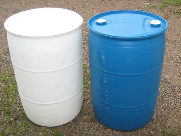 Photo 55 Gallon Plastic Barrels - $13 (Medford, WI)