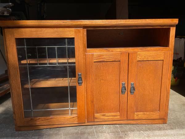 Photo Cabinet, Oak, Mission Style, Shelves - $125 (Saint Germain)