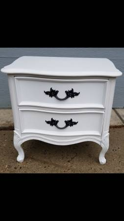 Photo Large French Provincial Double Drawer Wood Nightstand - $179 (Cable)