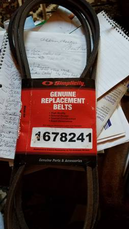 Photo New Genuine Simplicity Tractor Belt - $15 (Cable)