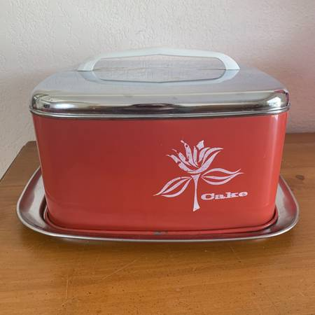 Photo Vintage Lincoln Beauty Ware Cake Carrier Server Red and Chrome Retro - $35 (Rhinelander)