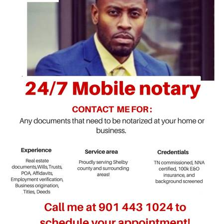 Photo Mobile Notary 247 Service for your convenience (Midtown Memphis)