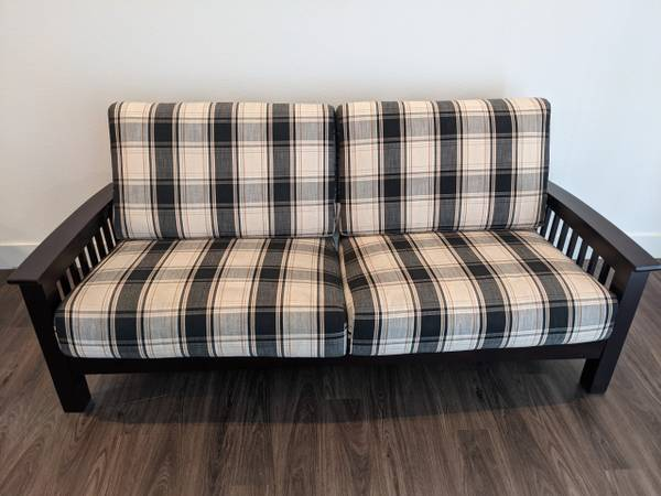 Photo Couch Mission-style with Exposed Wood Frame - $75 (Fort Collins)