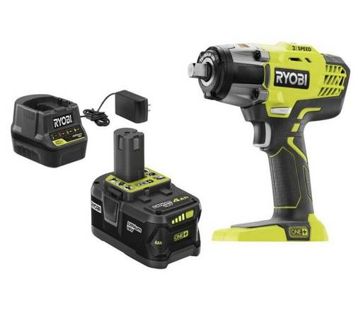 Photo Ryobi P261 18V ONE 12 in.Cordless Impact Wrench w Charger and Batt - $135 (Loveland)