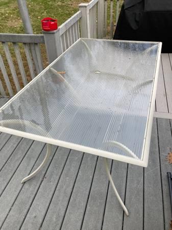 Photo Aluminum Patio Table With Glass Top - $75 (Thomaston)