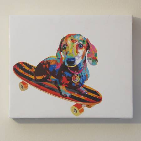 Photo Nice dog and skateboard wall decor 10 in x 12 in - $5 (Vernon)