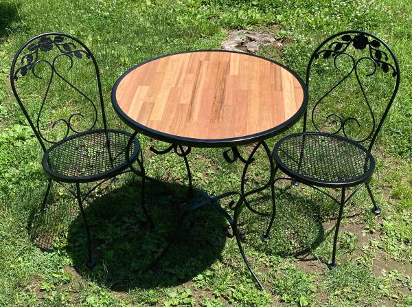 Photo Wrought Iron and Teak Patio Bistro Table and Chairs - $275 (Hudson)