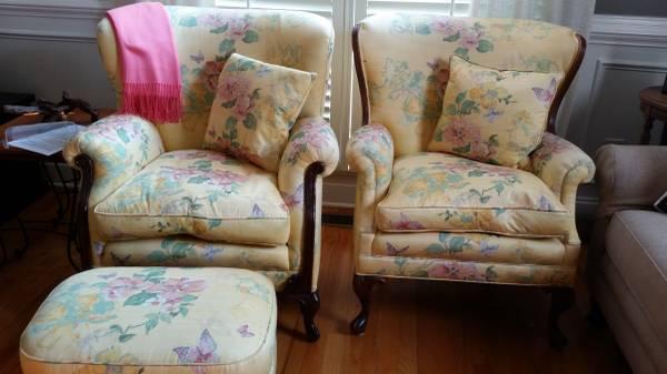 Photo Antique Fan Back Chairs  Foot Stool - $350 (NW Suburb of Atlanta, GA)