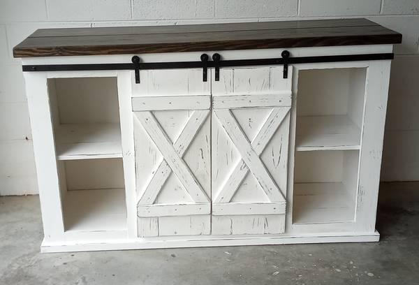 Photo Sliding Barn Door Console Cabinet TV Stand Bar - $400 (Chatsworth)