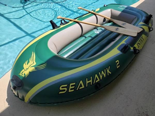 Photo 2- Man Raft w Oars, Intex Seahawk 2, Fishing Lakes, Rivers, Pool Fun - $40 (Beverly Hills)