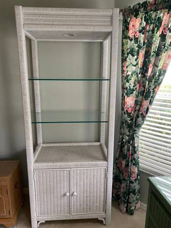 Photo 3 Piece Henry link wicker set - Chest, desk, chair and bookcase - $275 (The Villages)