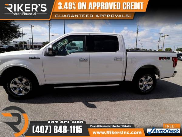 Photo $424mo - 2015 Ford F150 F 150 F-150 LariatCrew Cab - 100 Ap - $424 (Rikers Auto Financial)