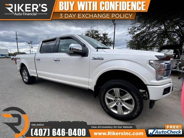 Photo $603mo - 2018 Ford F150 F 150 F-150 Platinum - 100 Approved - $603 (7202 E Colonial Dr, Orlando FL, 32807)
