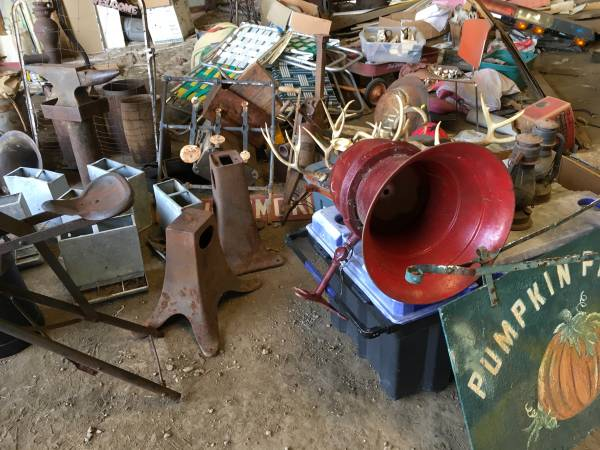 Barn Load Anvils Nail Kegs Milk Cans Cast Iron Wood Boxes
