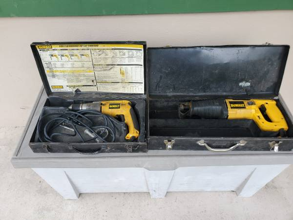 Photo DEWALT DW246 12quot Drill  Sawzall w Metal Cases $20 for both. - $20 (Beverly Hills)