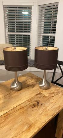 Photo Ls Pier One with Crome and chocolate brown lshade $30 each. - $30 (Ocala)