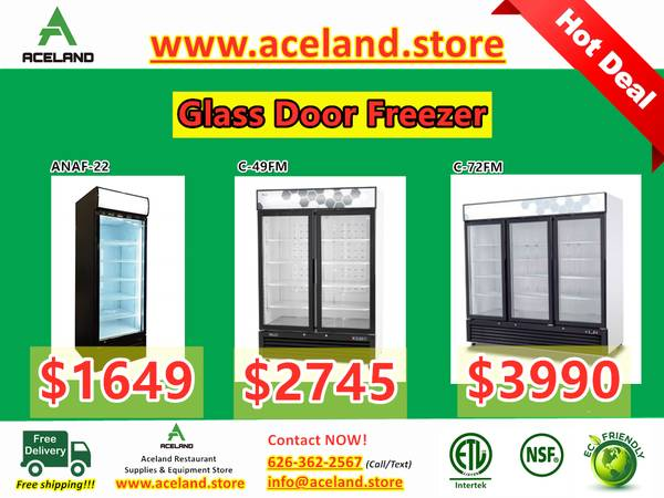 Photo NSF Restaurant Equipment 123-door Commercial Glass Freezer Fre - $1,649 (Free Shipping 100 New)