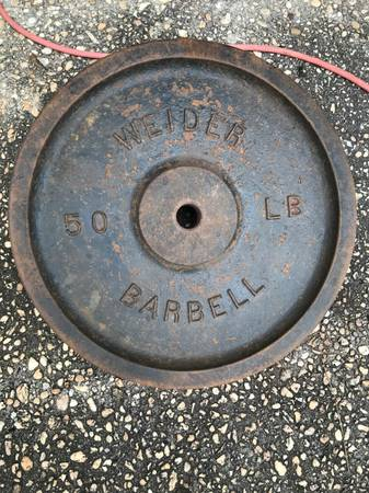 Photo 70 yr old, WEIDER VINTAGE 50 LB Weight Plates with 1quot hole (Crestview)