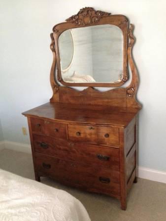 Photo Antique carved Tiger Oak Dresser with mirror - $375 (DESTIN)