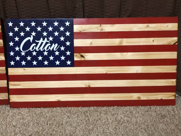 Photo Wooden American Flag with Name - $50 (Fort Walton Beach)