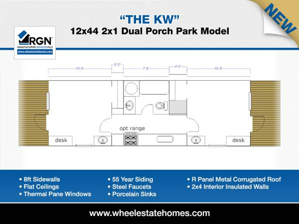 Photo 12x44 Dual Porch Entry Park Model Mobile Home (Anywhere in Texas)