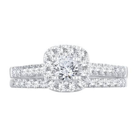 Photo 1 CT. T.W. Genuine White Diamond 10K Gold Halo Bridal Set - $1,500 (Edmond)