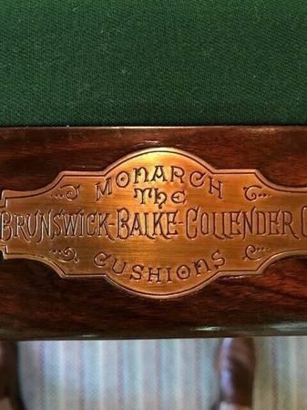 Photo 8 foot Pool Table 1896 Brunswick Mahogany Union League Billi - $1014 (oklahoma city)
