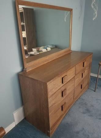 Photo Antique Retro-Modern Double Dresser With Mirror - $1,500 (Norman)