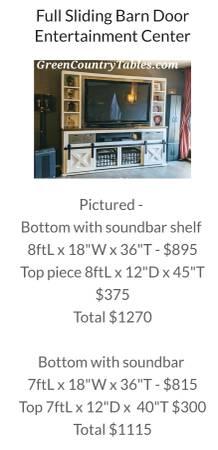 Photo Custom made sliding barn door console entertainment center - $1,115 (Cleveland Oklahoma we deliver)