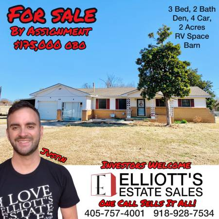 Photo FOR SALE 3 Bed 2 Bath  Den RV Space 2 Acres 4 Car Barn (Midwest City)