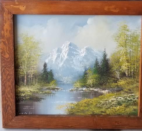 Photo Oil Painting on Canvas. Mountain scene - $75 (YUKON)