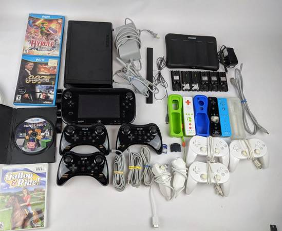 Photo Wii U Bundle Console Pro Controllers Retro Wii Plus Charge Station and Games - $250 (Moore)