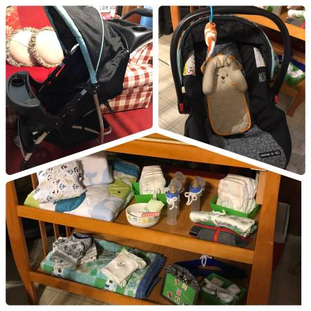 Photo Baby Stroller, Changing table, Car Seat, Diapers, Cloths, Bottles, Bla - $200 (Elma)