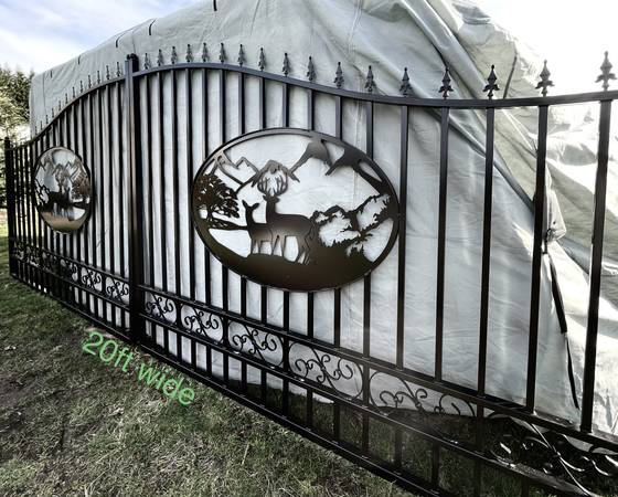 Photo Beautiful Double Wrought Iron DRIVEWAY GATE SWING FENCE ARCHED ESTATE
