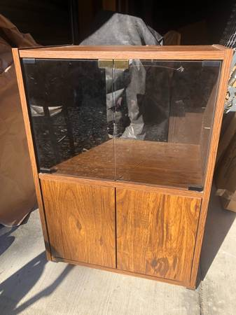 Photo Glass Front Wood Cabinet - $30 (Port Townsend)