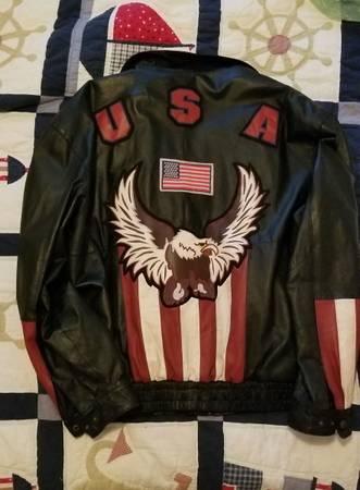 Photo Intro leather jacket 2XL USA with Eagle - $95 (Nahcotta)