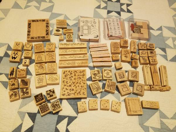 Photo Lot of Wood Mounted Rubber Sts (Stin39 Up  Stin39 Around) - $40 (Ocean Shores)