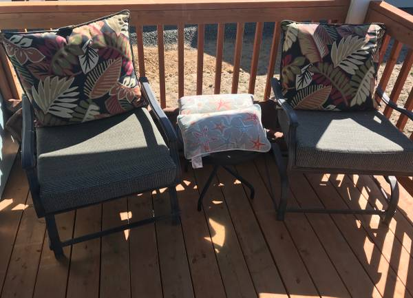 Photo Rocking chairs spring loaded powder coated framed removable cushions - $150 (Ocean shores)