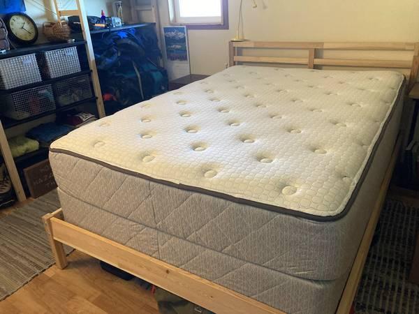 Photo Sealy Valdivia full mattress, box spring,  IKEA Tarva frame - $400 (Joyce, WA)