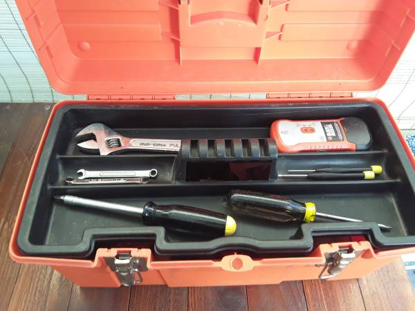 Photo Tool Box with a few assorted tools - $20 (Port Angeles)