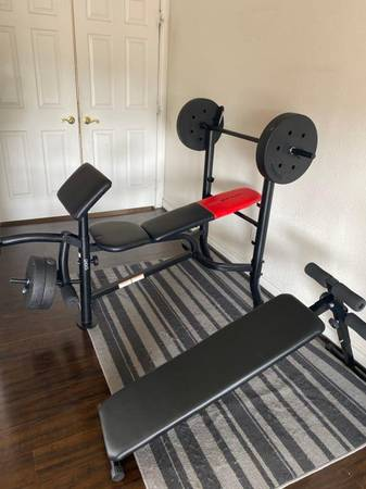 Photo Weight bench and rack  legcurl extensions - Weider pro 265 - $180 (Sequim)
