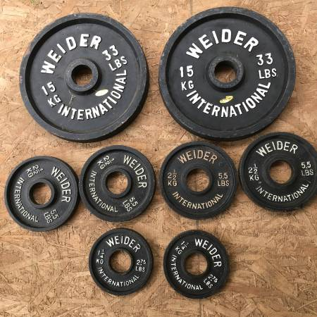 Photo Weights Vintage Weider 2quot Olympic Weight Plates 42.5kg (94lbs) - $115 (Quilcene)