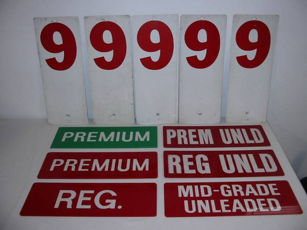 Photo 6 Acrylic GAS PUMP SIGNS See-thru Lettering  5 Price Signs - $35 (Omaha)